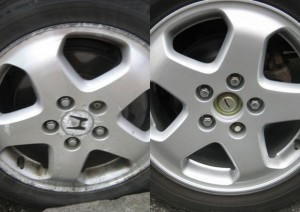 Before and after kerb damaged Honda wheel