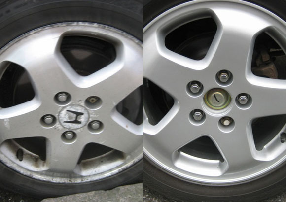 Example of Honda wheel refurb before and after